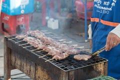 Charcoal grilled barbecue. Street food at walking street market Koh Phangan, Thailand Stock Photos