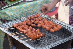 Charcoal grilled chicken skewer. Street food at walking street market Koh Phangan, Thailand Royalty Free Stock Image