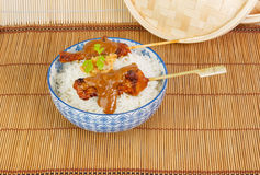Charcoal grilled pork satay with rice, sauce and fried onions Stock Photos