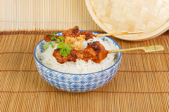 On charcoal grilled satay  with rice Stock Photos