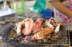 Charcoal grilled squid Royalty Free Stock Images