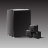 Charcoal for hookah. Vector black blank carton box of charcoal cubes for hookah pipe isolated on dark background Royalty Free Stock Photography