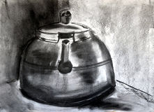 Charcoal Kettle. A Kettle painted in Charcoal Stock Image