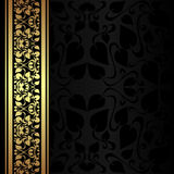 Charcoal ornamental Background with golden border. Royalty Free Stock Photography