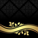 Charcoal ornamental Background with golden floral  Stock Images