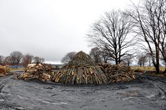 Charcoal pile Stock Images