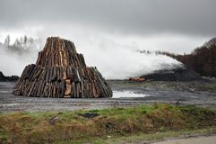 Charcoal pile Royalty Free Stock Photo