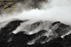 Charcoal Pile Burning Royalty Free Stock Photos
