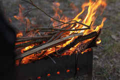 Charcoal preparation for bbq in mangal. Fire Stock Photography