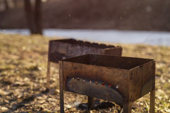 Charcoal preparation for bbq in mangals Royalty Free Stock Photography