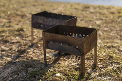 Charcoal preparation for bbq in mangals Royalty Free Stock Image