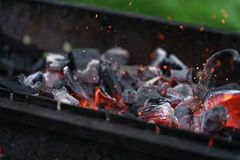 Charcoal preparing for making bbq in mangal Stock Images