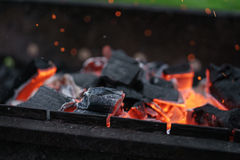 Charcoal preparing for making bbq in mangal Royalty Free Stock Photo