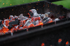Charcoal preparing for making bbq in mangal Stock Image