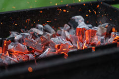 Charcoal preparing for making bbq in mangal Royalty Free Stock Photography
