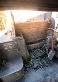 Charcoal provision for locomotive steam boiler Stock Image