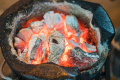 The Charcoal red fire burning stove.  Stock Image