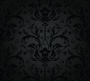 Charcoal seamless floral wallpaper Stock Photography
