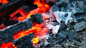 Charcoal set ablaze macro. Scene Stock Photos