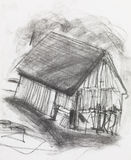 Charcoal sketch of an old barn Stock Images