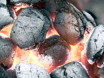 Charcoal - smoldering in flames close up view 2 Stock Photography