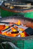Charcoal stove. Burning charcoal in stove for cooking Stock Photos