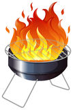 Charcoal stove with flame Royalty Free Stock Image