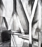 Charcoal study for an abstract painting. A charcoal study for an abstract painting, on an architectural theme Stock Photos