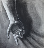 Charcoal Study of Hand. A charcoal study of a human hand dramatically lit. It is a form and shadow study vector illustration