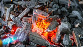 Charcoal is switched on. Some Charcoal is switched on in the garden Stock Image