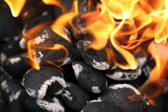 Charcoals. Engulfed in flames Stock Photography