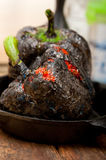 Charcol scorched fresh bell peppers Royalty Free Stock Images