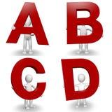 charcter 3D humain retenant A à marquer d'une pierre blanche, B, C, D illustration de vecteur