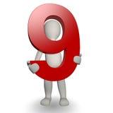 charcter som 3d rymmer nummer för human nio Fotografering för Bildbyråer