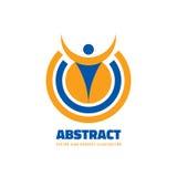 Charcter umano astratto nella forma del cerchio - vector l'illustrazione di concetto del modello di logo Segno creativo della gen Fotografia Stock Libera da Diritti