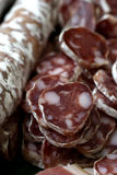 Charcuterie. Sausage and ham from pif Royalty Free Stock Photo