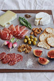 Charcuterie board with cheese Stock Image