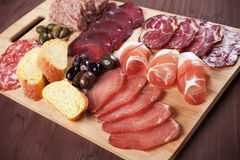 Charcuterie board with cured meat and olives Stock Photography