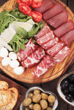 Charcuterie board. With italian style cured meat deli Royalty Free Stock Photos