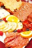Charcuterie, deska, jedzenie, mięso, ser, świeży, półmisek, leczący, s fotografia royalty free