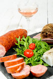Charcuterie plate with wine Royalty Free Stock Image