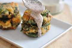 Chard Patties. Home made fried vegetable burgers with chard stock image