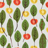 Chard and tomatoes, seamless vector pattern Stock Photo