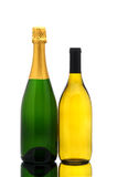 Chardonnay and Champagne bottles Royalty Free Stock Images
