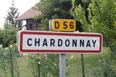 Chardonnay-Zeichen Stockfotos