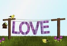 Chardonnerets, volière et amour sur la corde à linge Photo stock