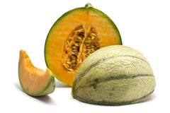 Charentais melon pokrajać w 3 Zdjęcie Royalty Free