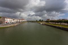 Charente river in Saintes. Charente river crossing the town of Saintes in france Stock Images