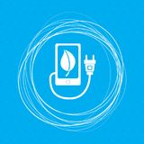 Charge eco power, usb cable is connected to the phone icon on a blue background with abstract circles around and place for your te. Xt. illustration Stock Photos