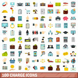100 charge icons set, flat style. 100 charge icons set in flat style for any design vector illustration Royalty Free Stock Photography